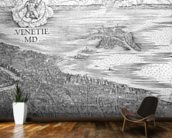 Grande Pianta Prospettica - Venice, c.1500 (engraving) (middle section) wallpaper mural kitchen preview