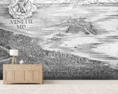 Grande Pianta Prospettica - Venice, c.1500 (engraving) (middle section) wallpaper mural living room preview