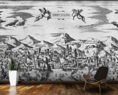View of Jerusalem, 1570 ? (engraving) (b/w photo) wallpaper mural kitchen preview