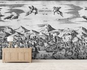 View of Jerusalem, 1570 ? (engraving) (b/w photo) wallpaper mural living room preview