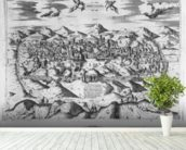 View of Jerusalem, 1570 ? (engraving) (b/w photo) wallpaper mural in-room view