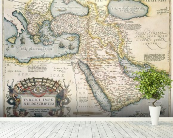 Ortelius abraham map of the middle east wall mural for Caldera mural orbis