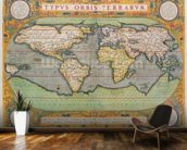 Typus Orbis Terrarum, map of the world, from Orteliuss Theatrum Orbis Terrarum, Antwerp, 1570 (hand-coloured engraving) mural wallpaper kitchen preview