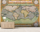 Typus Orbis Terrarum, map of the world, from Orteliuss Theatrum Orbis Terrarum, Antwerp, 1570 (hand-coloured engraving) mural wallpaper living room preview