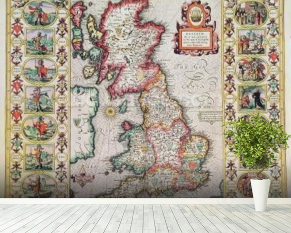 Britain As It Was Devided In The Tyme of the Englishe Saxons especially during their Heptarchy (hand coloured copper engraving) mural wallpaper room setting