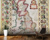 Britain As It Was Devided In The Tyme of the Englishe Saxons especially during their Heptarchy (hand coloured copper engraving) mural wallpaper kitchen preview
