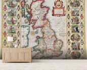 Britain As It Was Devided In The Tyme of the Englishe Saxons especially during their Heptarchy (hand coloured copper engraving) mural wallpaper living room preview