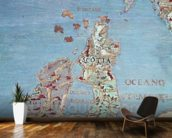 Map of Sixteenth Century Britain and Northern France, from the Sala del Mappamondo (Hall of the World Maps) c.1574-75 (fresco) (detail of 95818) mural wallpaper kitchen preview
