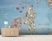 Map of Sixteenth Century Britain and Northern France, from the Sala del Mappamondo (Hall of the World Maps) c.1574-75 (fresco) (detail of 95818) mural wallpaper living room preview