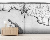 Map No.3 Showing the route of the Armada fleet, engraved by Augustine Ryther, 1588 (engraving) (b/w photo) wallpaper mural living room preview