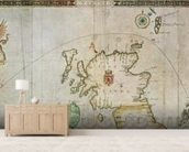 Map showing the route of the Armada fleet, engraved by Augustine Ryther, 1588 (engraving) (see 133339 for b/w) wallpaper mural living room preview