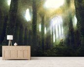 The Hunt mural wallpaper living room preview