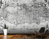 Typus Orbis Terrarum, world map, 1577 (engraving) (b&w photo) wallpaper mural kitchen preview