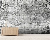 Typus Orbis Terrarum, world map, 1577 (engraving) (b&w photo) wallpaper mural living room preview