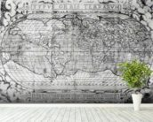 Typus Orbis Terrarum, world map, 1577 (engraving) (b&w photo) wallpaper mural in-room view