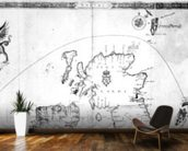 Map showing the route of the Armada fleet, engraved by Augustine Ryther, 1588 (engraving) (b/w photo) wallpaper mural kitchen preview