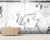 Map showing the route of the Armada fleet, engraved by Augustine Ryther, 1588 (engraving) (b/w photo) wallpaper mural living room preview