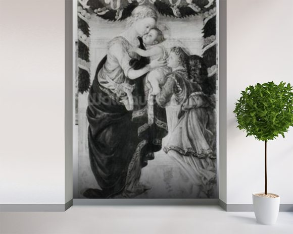 The Virgin and Child with an angel (panel) (b/w photo) mural wallpaper room setting