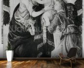 The Virgin and Child with an angel (panel) (b/w photo) mural wallpaper kitchen preview