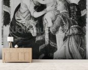 The Virgin and Child with an angel (panel) (b/w photo) mural wallpaper living room preview