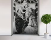 The Virgin and Child with an angel (panel) (b/w photo) mural wallpaper in-room view