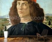 Portrait of a young man holding a medallion of Cosimo I de Medici (The Elder) (1389-1463) (tempera on panel) wall mural kitchen preview