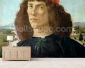 Portrait of a young man holding a medallion of Cosimo I de Medici (The Elder) (1389-1463) (tempera on panel) wall mural living room preview