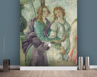 Detail of Venus and the Graces offering gifts to a young girl Wallpaper Mural Wall Murals Wallpaper