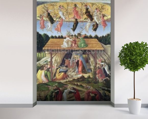 Mystic Nativity, 1500 (oil on canvas) wall mural room setting