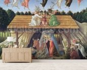 Mystic Nativity, 1500 (oil on canvas) wall mural living room preview
