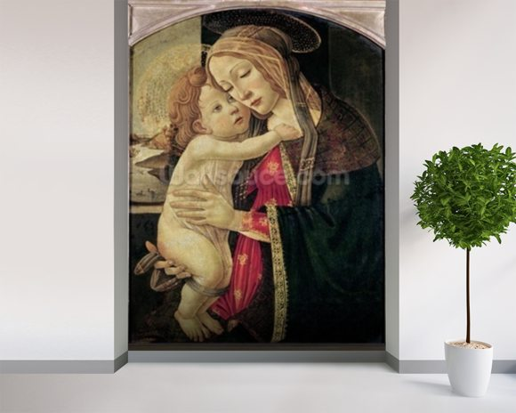 The Virgin and Child, c.1500 (oil on panel) wallpaper mural room setting