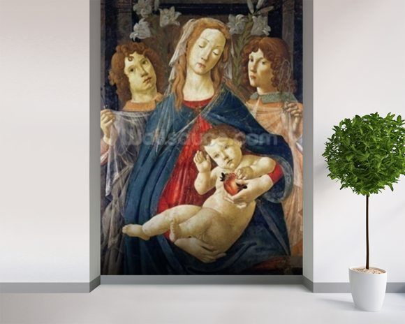 Virgin of the Pomegranate (oil on panel) wall mural room setting