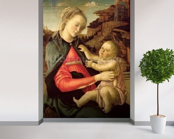 The Virgin and Child (Madonna of the Guidi da Faenza) c.1465-70 (oil on panel) wallpaper mural room setting