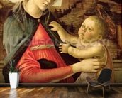 The Virgin and Child (Madonna of the Guidi da Faenza) c.1465-70 (oil on panel) wallpaper mural kitchen preview