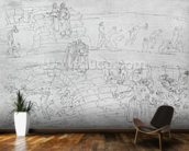 Dante and Virgil (70-19 BC) from The Divine Comedy by Dante Alighieri (1265-1321) c.1480 (pen & ink on paper) mural wallpaper kitchen preview