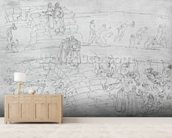 Dante and Virgil (70-19 BC) from The Divine Comedy by Dante Alighieri (1265-1321) c.1480 (pen & ink on paper) mural wallpaper living room preview