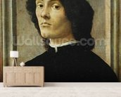 Portrait of a Man (oil on panel) wallpaper mural living room preview