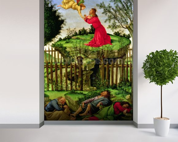 The Agony in the Garden, c.1500 (oil on canvas) wallpaper mural room setting