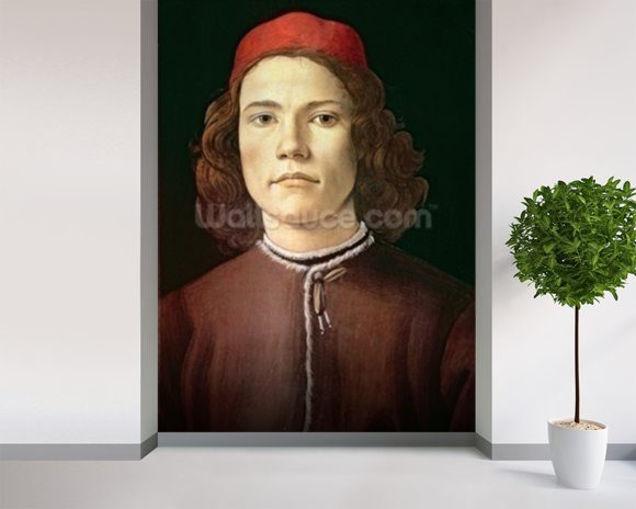 Portrait of a Young Man, c.1480-85 (tempera & oil on panel) mural wallpaper room setting