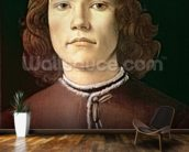 Portrait of a Young Man, c.1480-85 (tempera & oil on panel) mural wallpaper kitchen preview