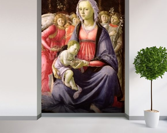 The Virgin and Child surrounded by Five Angels (oil on panel) mural wallpaper room setting