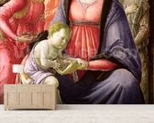 The Virgin and Child surrounded by Five Angels (oil on panel) mural wallpaper living room preview