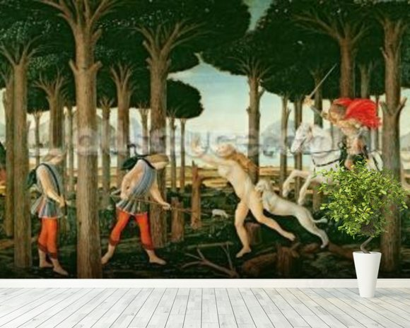 Nastagios Vision of the Ghostly Pursuit in the Forest: Scene I of The Story of Nastagio degli Onesti, c.1483 (tempera on panel) wall mural room setting