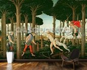 Nastagios Vision of the Ghostly Pursuit in the Forest: Scene I of The Story of Nastagio degli Onesti, c.1483 (tempera on panel) wall mural kitchen preview