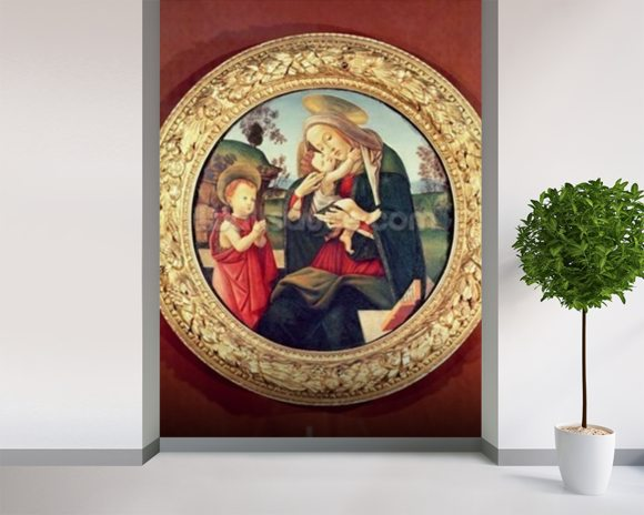 Virgin and Child with John the Baptist mural wallpaper room setting