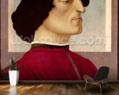 Portrait of Giuliano de Medici (1478-1534) c.1480 (tempera on panel) mural wallpaper kitchen preview