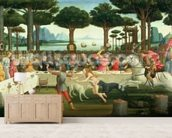 The Banquet in the Pinewoods: Scene III of The Story of Nastagio degli Onesti, c.1483 (tempera on panel) wall mural living room preview