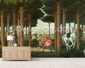 The Disembowelment of the Woman Pursued: Scene II of The Story of Nastagio degli Onesti, c.1483 (tempera on panel) wallpaper mural living room preview