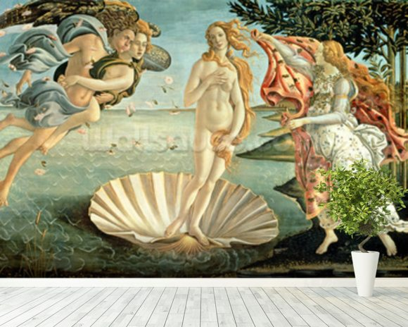 The Birth of Venus, c.1485 (tempera on canvas) mural wallpaper room setting