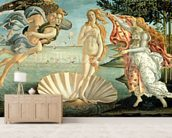 The Birth of Venus, c.1485 (tempera on canvas) mural wallpaper living room preview